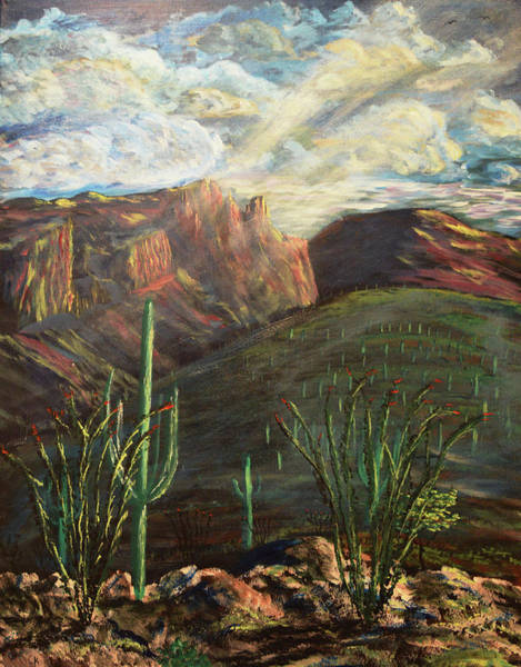 Poster featuring the painting Finger Rock Morning by Chance Kafka