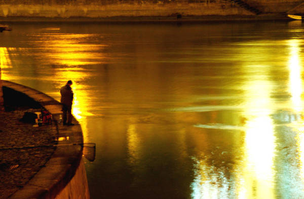Fisherman At The Danube Canal Poster