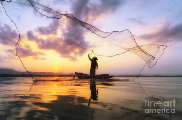Fisherman Of Bangpra Lake In Action Poster