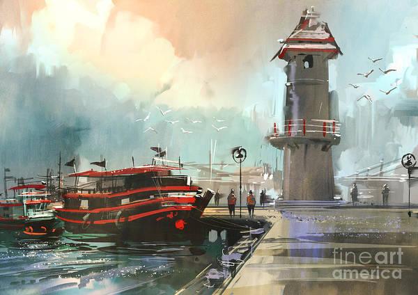 Fishing Boat In Harbor,digital Poster