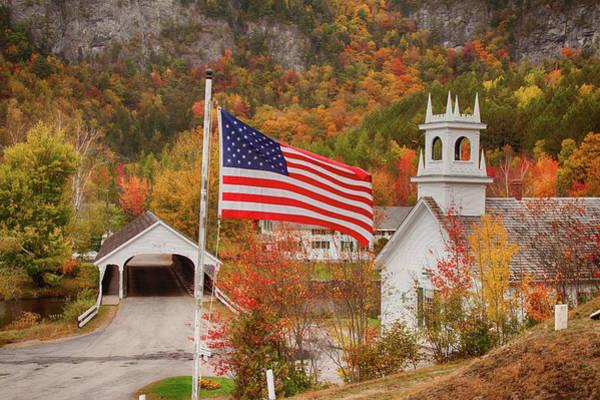 Flag Flying Over The Stark Covered Bridge Poster