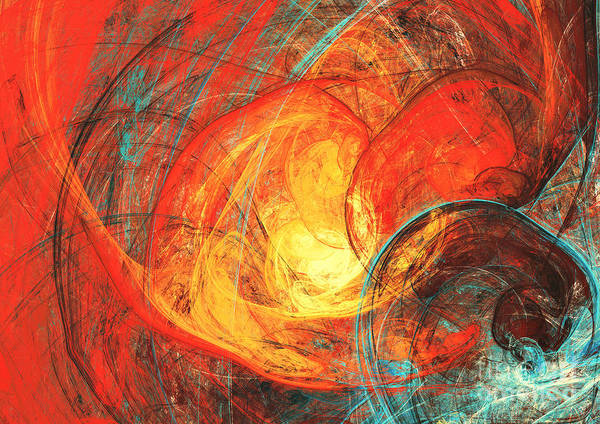 Flaming Sun. Abstract Painting Texture Poster