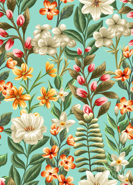 Floral Seamless Pattern With Flowers Poster