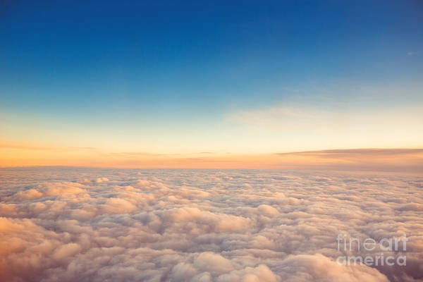 Flying Above The Clouds. View From The Poster