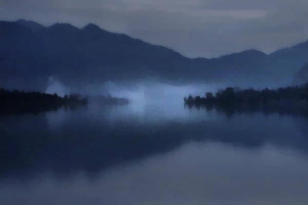 Fog On The Dark Mountain Lake Poster