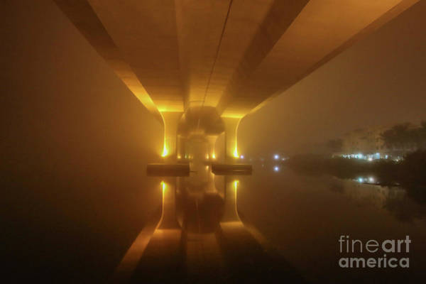 Poster featuring the photograph Foggy Bridge Glow by Tom Claud