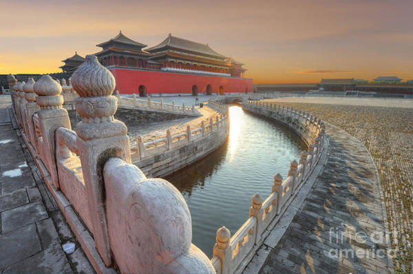 Forbidden City In China During Sunset Poster