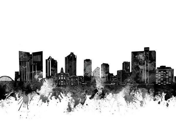 Fort Worth Skyline Watercolor Black And White Poster