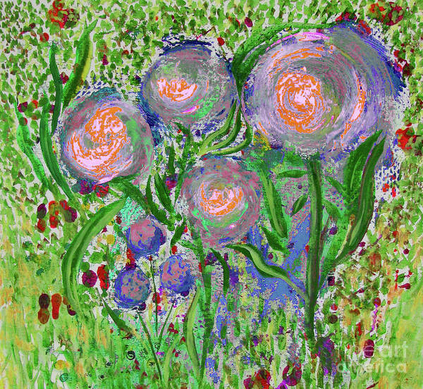 Four Pink Flowers In Green Poster