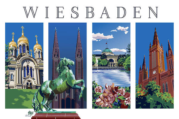 Four Views Of Wiesbaden Poster