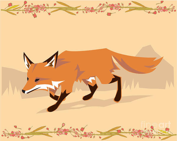 Fox In A Decorative Composition Poster