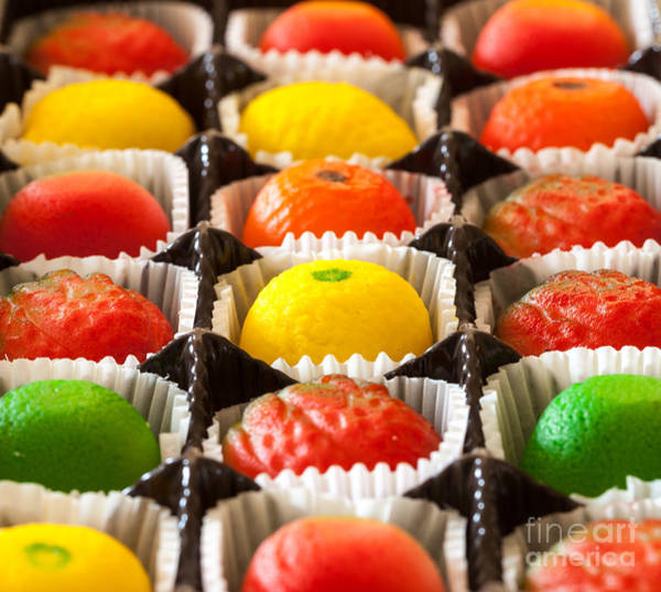 Fruit Shaped Candies In Macro Image Of Poster