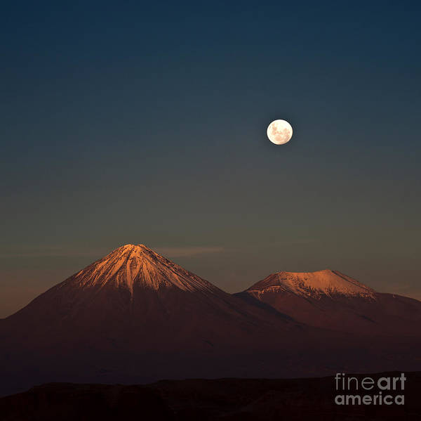 Full-moon In The Moon Valley. Volcanoes Poster