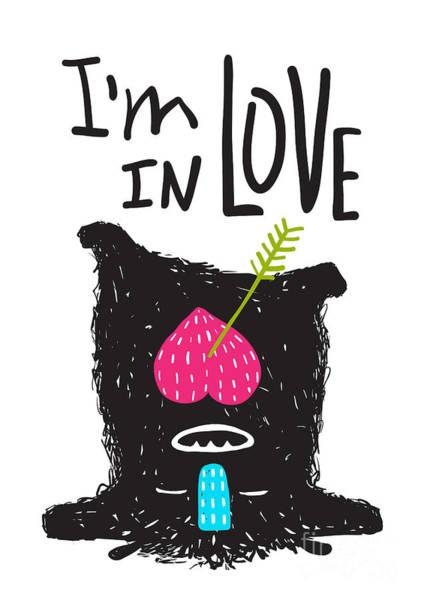 Fun Monster In Love Happy Upside-down Poster