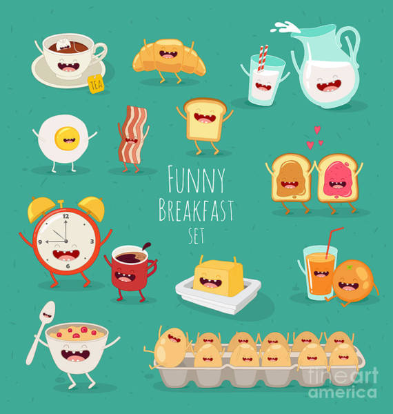 Funny Breakfast Set. Comic Characters Poster