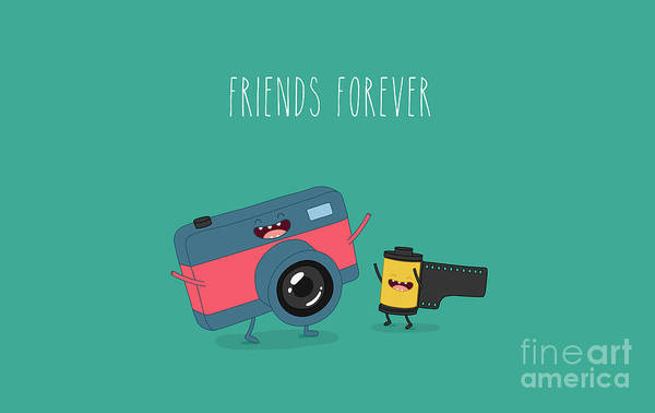 Funny Camera And Camera Roll. Vector Poster