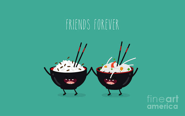 Funny Rice Noodles And Rice In Black Poster