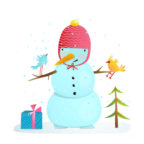 Funny Snowman With Birds Present And Poster