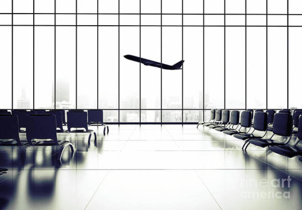 Futuristic Airport And Big Airliner In Poster