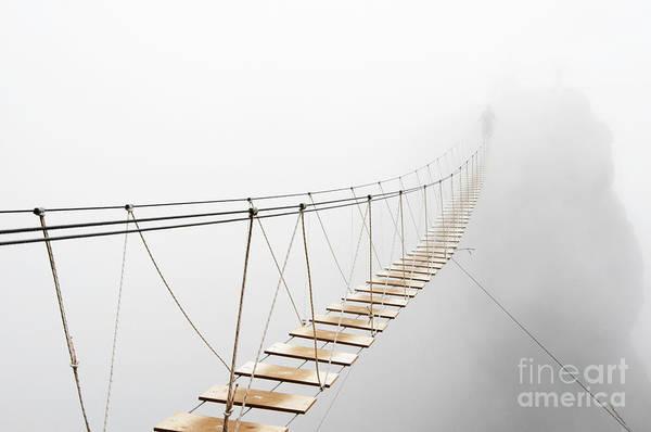 Fuzzy Man Walking On Hanging Bridge Poster