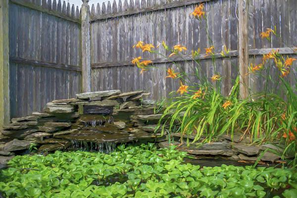 Garden Pond With Orange Day Lilies Poster