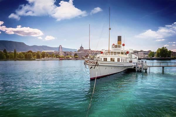 Geneva Switzerland Paddle Steamer Simplon  Poster