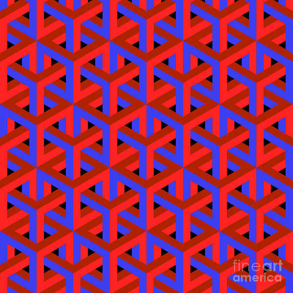 Geometric Optical Art Background In Red Poster