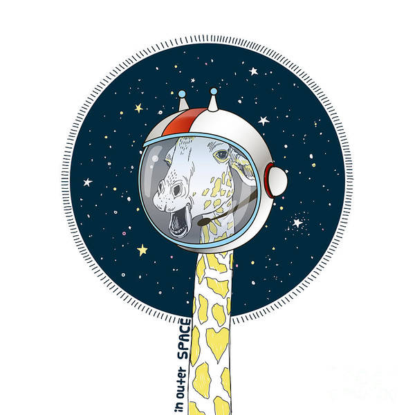 Giraffe In Outer Space, Hand Drawn Poster