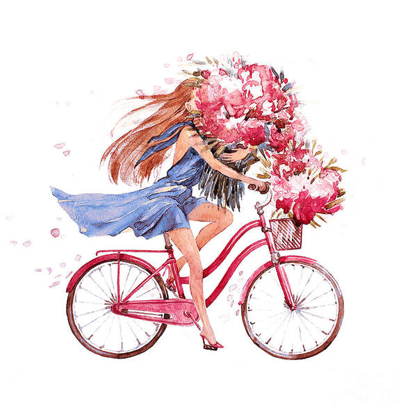 Girl On Bike.  Bicycle. Bike. Peony Poster