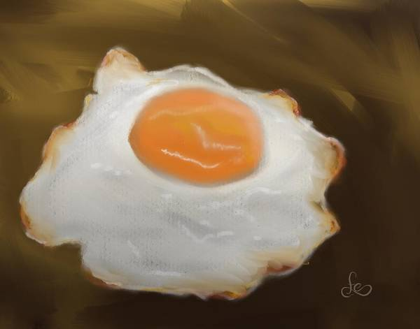 Poster featuring the pastel Golden Fried Egg by Fe Jones
