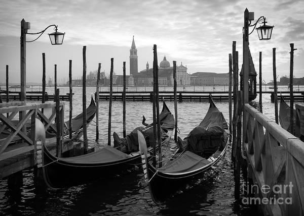 Gondolas In Venice, Black And White Poster