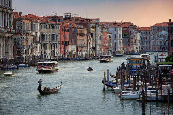 Poster featuring the photograph Grand Canal Gondolier Venice Italy Sunset by Nathan Bush