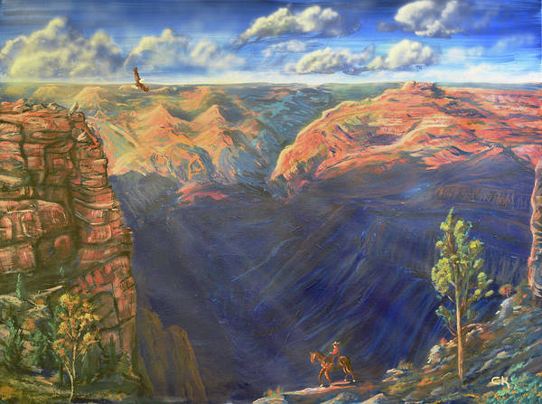 Poster featuring the painting Grand Canyon And Mather Point by Chance Kafka