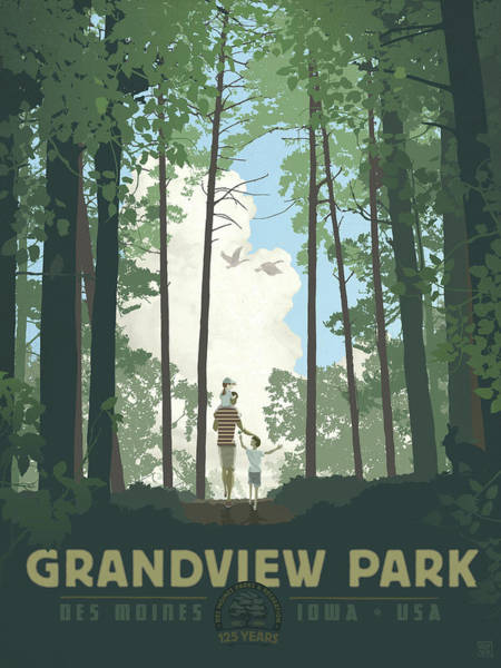 Poster featuring the digital art Grandview Park by Clint Hansen