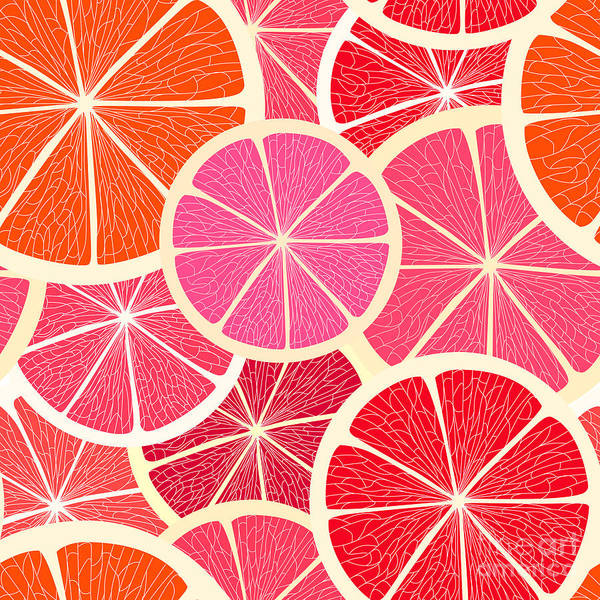 Grapefruit Seamless Background Poster