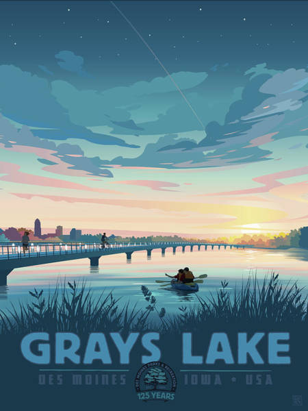 Poster featuring the drawing Grays Lake by Clint Hansen