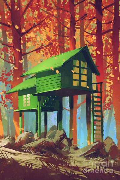 Green Houses In Autumn Poster