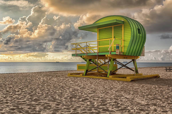Poster featuring the photograph Green Lifeguard Stand by Alison Frank