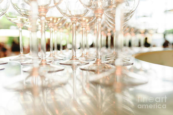 Group Of Empty Transparent Glasses Ready For A Party In A Bar. Poster