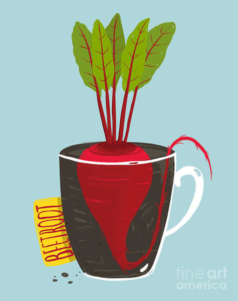Growing Beetroot With Green Leafy Top Poster