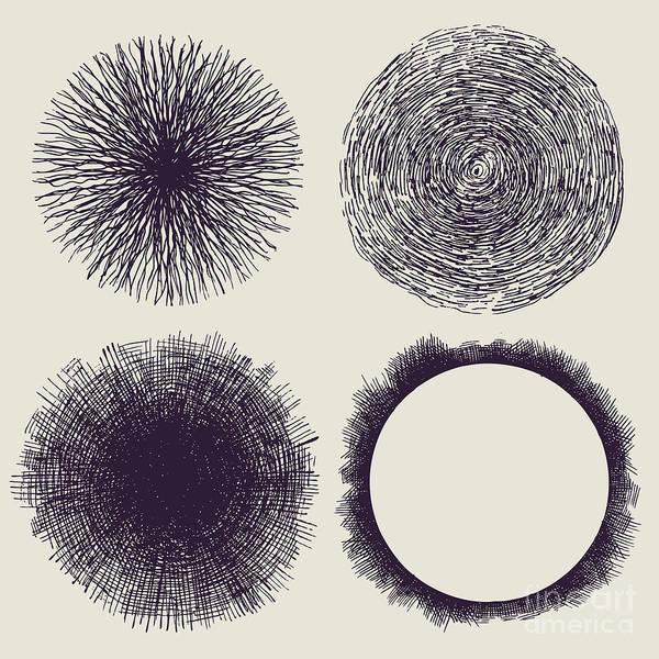 Grunge Halftone Drawing Textures Set Poster
