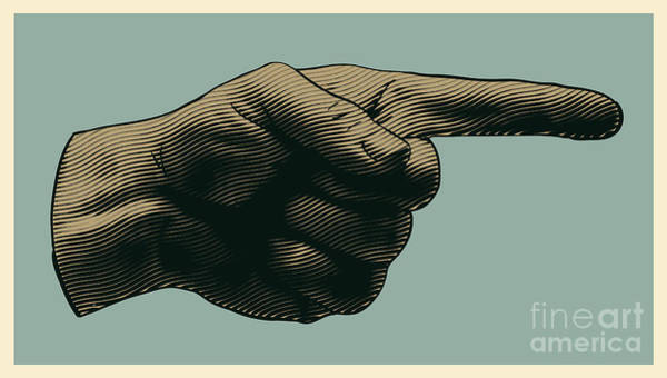 Halftone Pointing Finger. Engraved Poster