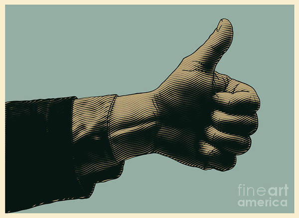 Halftone Thumbs Up Symbol. Engraved Poster