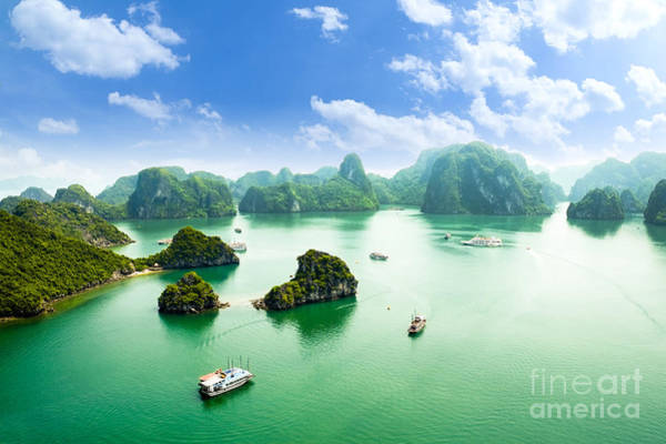 Halong Bay In Vietnam. Unesco World Poster