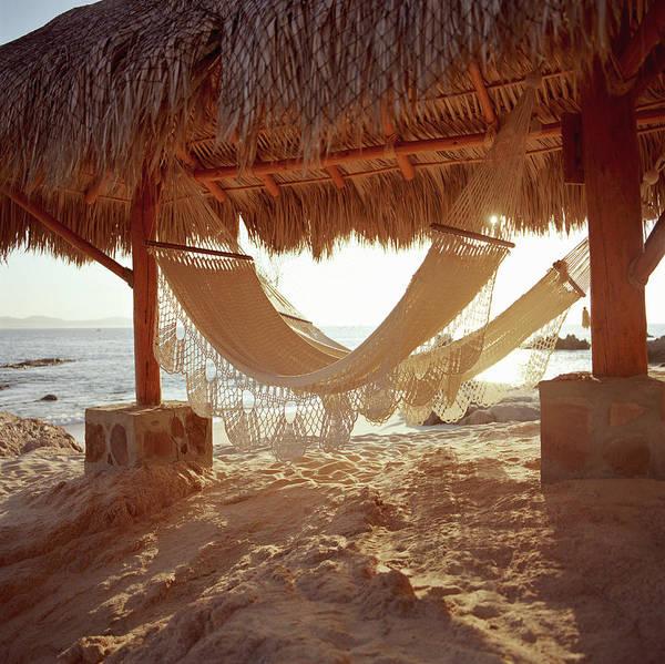 Hammocks In Beach Hut Poster