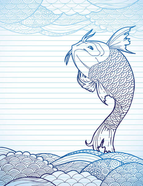 Hand Drawn Koi And Waves On Lined Paper Poster
