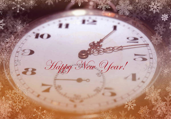 Happy New Year With Decorative And Nostalgic Theme. Poster