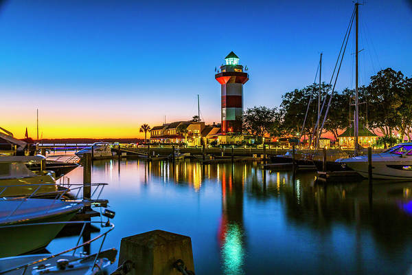 Harbor Town Lighthouse - Blue Hour Poster