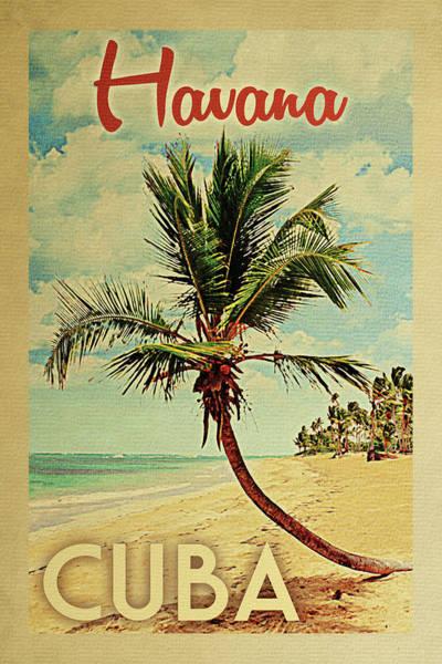 Havana Cuba Palm Tree Poster