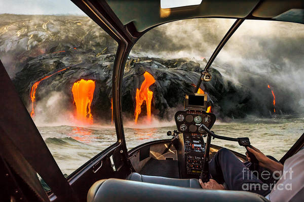 Helicopter Cockpit Flies In Kilauea Poster